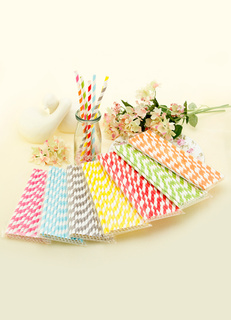 25-Piece Plastic Stripe Straw for Wedding