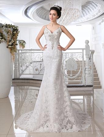 16009aceac Vestido De Casamento 2019 De Marfim Sereia Strapless Decote Em V Strass  Peito Da Coração Nupcial