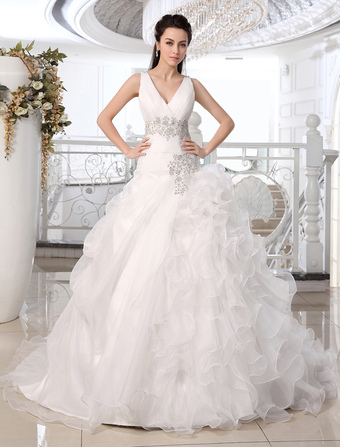 Wedding Dresses Princess Ball Gown Bridal Dress V Neck Organza Ruffles Tiered Beading Pleated Court Train