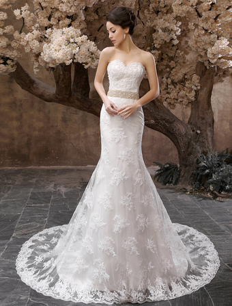 4710b8b6944b Abiti da sposa Mermaid senza spalline Abito da sposa in pizzo Applique  Perline Vita Sweetheart Neck