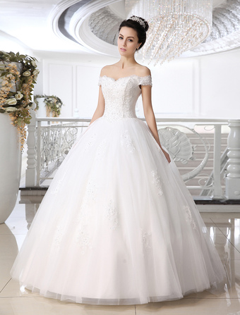 White Ball Gown Off The Shoulder Beading Floor