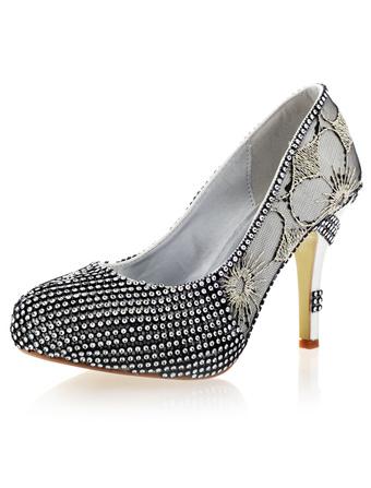 seda para de novias sintética pedrería Zapatos con negra 45wp1pa