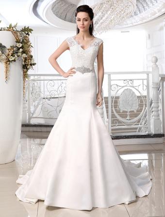Wedding Dresses Mermaid Trumpet V Neck Bridal Gown Satin Ivory Rhinestones Beaded Sash Chapel Train Wedding Gown For Brides