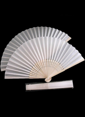 4-Piece Solid Color White Bamboo Teen Girls Fans