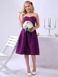 Magenta Junior Bridesmaid Dress Sweetheart Taffeta A Line Pleated Knee Length Wedding Party Dress