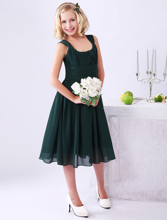 Dark Green A-line Ruched Chiffon Junior Bridesmaid Dress with Square Neck