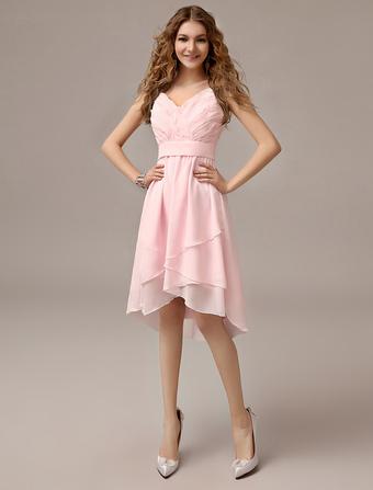 d0ff0c5380e1 Asymmetrical Blush Pink A-line Ruched Chiffon Bridesmaid Dress With Straps  Neck