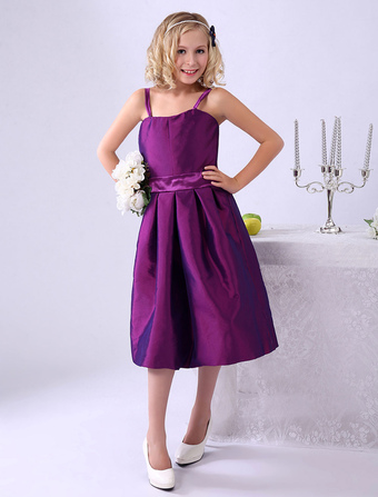 A-line Grape Pleated Taffeta Junior Bridesmaid Dress With Straps Neck