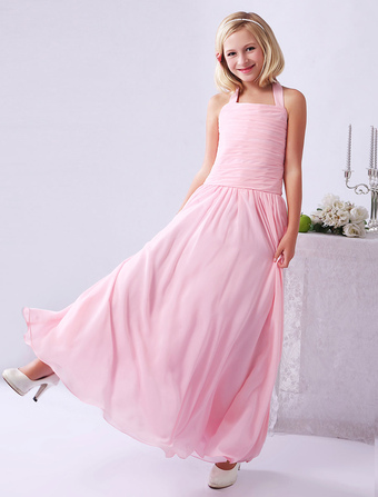 A-line Pink Chiffon Pleated Halter Junior Bridesmaid Dress