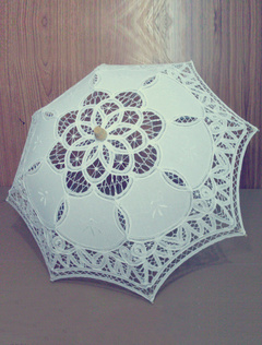 Ecru White Lace Canopy Wood Handle Umbrella for Wedding