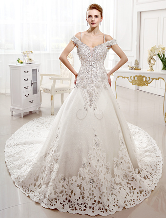 A-line Chapel Train Ivory Lace Wedding Dress For Bride with V-Neck Off-The-Shoulder   Milanoo