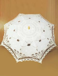e1c12d87a702 Ombrello matrimonio pizzo bianco ecrù baldacchino manico in legno