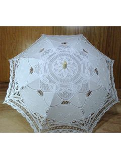 White Lace Canopy Wood Handle Umbrella for Wedding