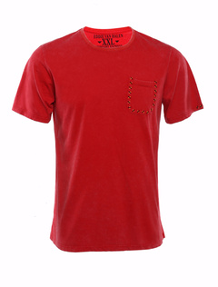 Solid Red Crewneck Pockets Short Sleeves Cotton Mens Tee Shirt