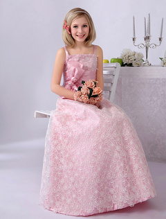 Pink Straps Neck A-line Bow Tulle Cute Flower Girl Dress  Milanoo
