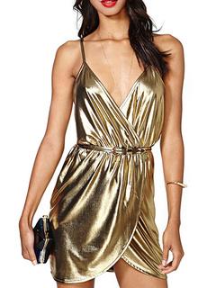 Beautiful Gold Straps Neck Sash Polyester Women's Mini Dress