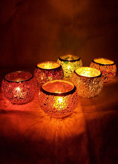 Colorful Glass Mosaic Pattern Candle Holders
