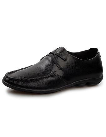 55c573817 أسود أشار اصبع القدم جلد البقر الدانتيل يصل أحذية رجالي عارضة