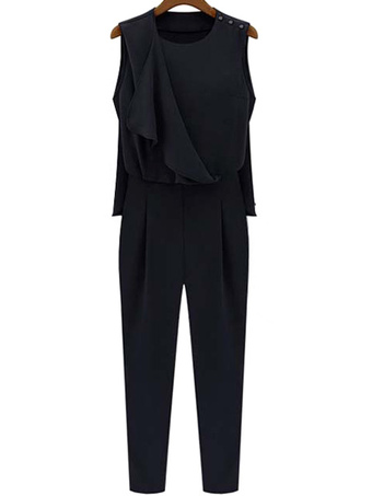 Chic Solid Color Rayon Charming Womens Jumpsuit