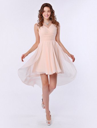 Strapless V-Neck A-line Ruffle Chiffon High-Low Design Gold Champagne Bridesmaid Dress