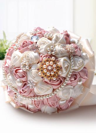 Two-Tone Wedding Flowers Pearls Rhinestone Satin Flowers