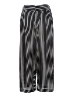 Black Oversized Zipper Fly Straight Polyester Pants for Woman
