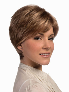 Light Brown Heat-resistant Fiber Side Parting Womens Sweet Short Wig