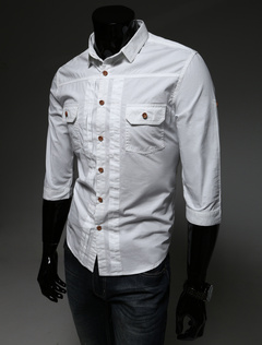 Pockets Shaping Cotton Casual Shirt For Men
