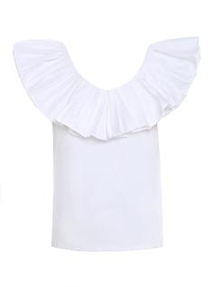 Green Pure Cotton Low Back Sleeveless Ruffles V-Neck Womens T-shirt