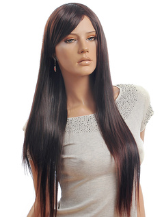 Lounge Chestnut Brown Heat-resistant Fiber Straight Fashion Long Wig