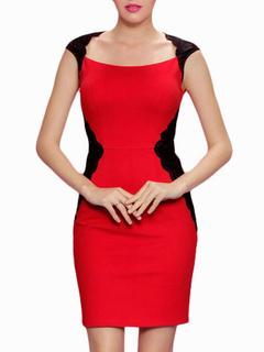 612172d2928fc الأحمر قصيرة الأكمام الدانتيل مزيج القطن سليم بوديكون اللباس للمرأة