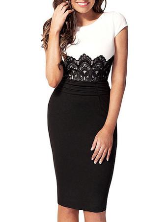 4727a1297a7 Populaire robe moulante robe sexy bicolore brodé robe noir et blanc