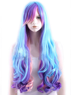 Sexy Multi Color Heat-resistant Fiber Side Parting Fashion Long Carnival wig