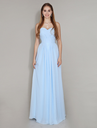Pastel Blue Bridesmaid Dress Sweetheart Neck Floor Length Chiffon Ruched Wedding Party Dress Wedding Guest Dress