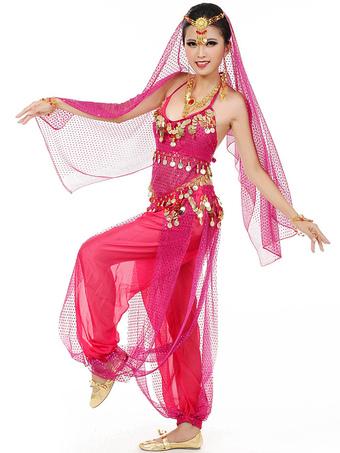 e61c560fd78 Disfraz de danza del vientre 2019 azul Chiffon Bollywood Vestido de Baile  con Velo para Mujer