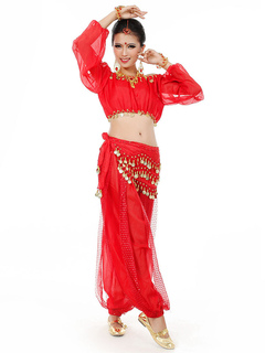 5ab738f389 Belly Dance Costume Chiffon Bollywood Dance Dress With Fanon for Women