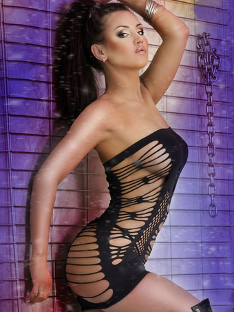 Black Strapless Cut Out Sleeveless Shaping Chemise Dress For Woman