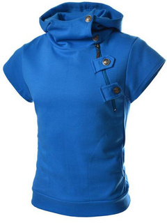 Short Sleeves Cotton Shaping Men's Hoodie with Zipper and Buttons