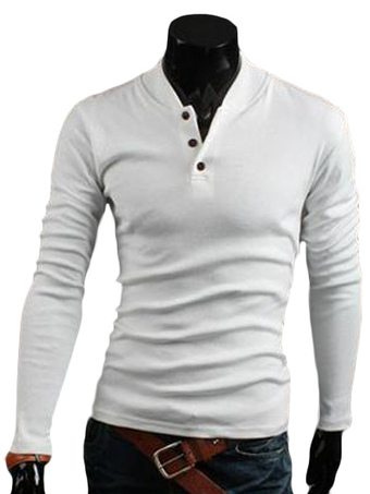Stand Collar Buttons Long Sleeves Solid Color Cotton Men's T-Shirt
