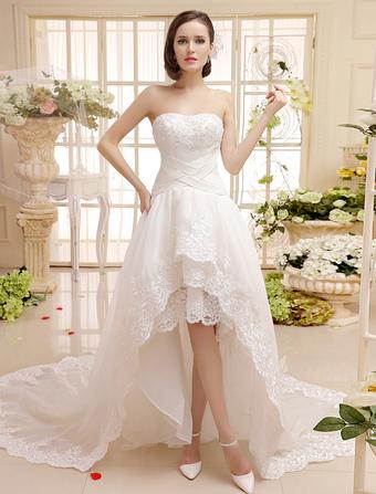 Sweetheart Neck Lace Trim High-Low Design Criss-Cross Bridal Wedding Dress with Applique Milanoo