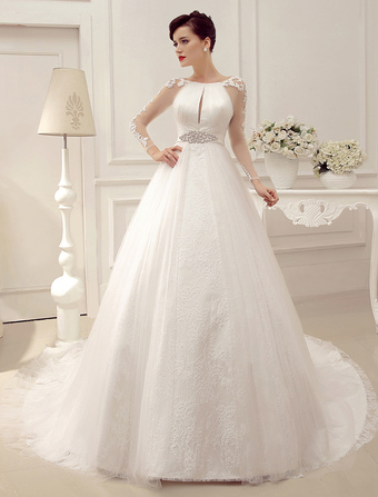 b2917ae20fa Wedding Dresses Ball Gown Bridal Dress Long Sleeve Lace Applique Beaded  Rhinestones Sash Illusion Cutout Wedding