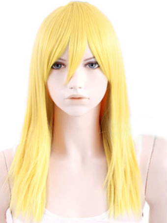 Blonde Straight Heat-resistant Fiber Medium Carnival wig For Woman