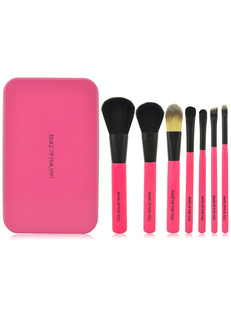 Quality Rose Red Pony Hair Portable Makeup Brush Sets For Women ( Set of 7 )