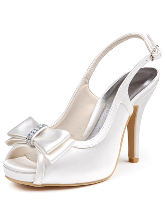 Gorgeous Ivory Silk And Satin Bow Peep Toe Pumps For Bride