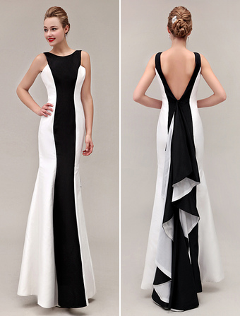 18f60ade528ea black prom dresses 2019 Color Block backless fishtail evening gown Mermaid  Ruffles formal dresses