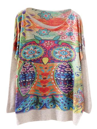 Tribal Scoop Neck Long Sleeves Printed Oversized Pullovers For Women