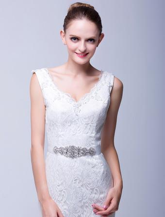 Ivory Medium Pretty Rhinestone Wedding Sash For Bride