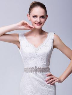Ivory Medium Bridal Wedding Sash With Rhinestone