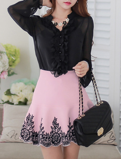 Long Sleeves Semi-Sheer Chiffon Blouse For Women