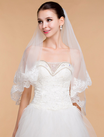 Ivory One-Tier Lace Tulle Wedding Veil